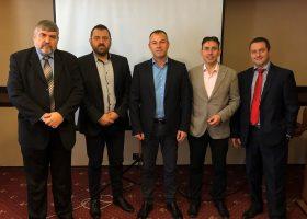 Снимка 1. От ляво на дясно: доц. д-р Емил Асенов, д-р Николай Алдимиров, г-н Иван Станоев, г-н Антон Михайлов и г-н Иван Кавръков.